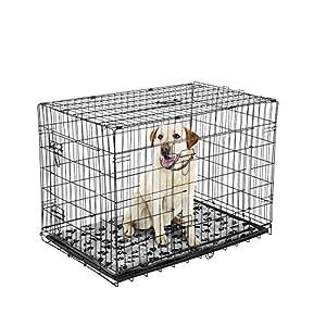 Cage caisse de transport chien pliable fil d'acier 2 portes avec coussin poignée 91L x 61l x 67Hcm noir neuf 33