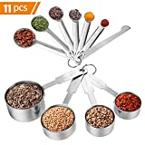 Apicallife Measuring Cups & Messlöffel mit Meßlineal Set (11 Pcs), Edelstahl Messbecher Messlöffel Für Trockene und Flüssige Zutaten, Silber …