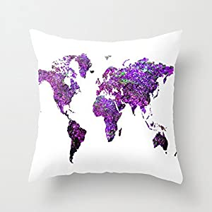 Funda de cojín, diseño de mapa del mundo, 45 x 45 cm, color morado