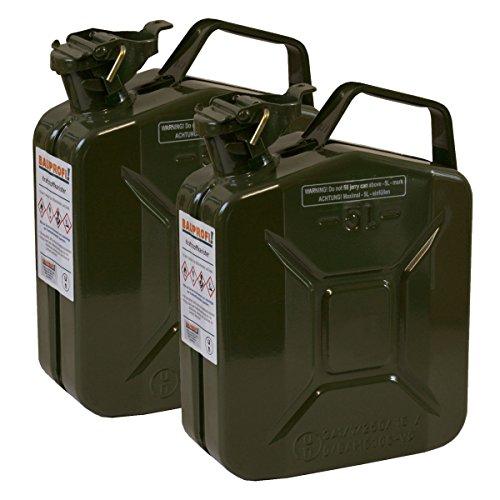 2er Set 5 Liter Benzinkanister Metall GGVS mit Sicherungsstift oliv/grün Armee