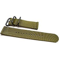 DaLuca Two Piece Ballistic Nylon NATO Watch Strap - Olive (PVD Buckle) : 26mm