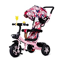 WLD Training Bike Frame Stroller Tricycle Baby Carriage Toddler Bicycle Convenient Stroller Tricycle 1 Year Old Tricycle 2 Years Old Safety Guard Baby Birthday Present