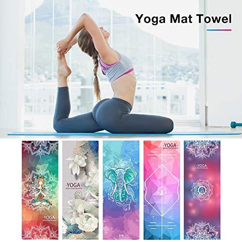 Wintesty Yoga-Matte, Die Bewegliches Yoga-Tuch Faltet Schweiß-saugfähiges Drucken rutschfeste Yoga-Matte Gummi-Partikel…