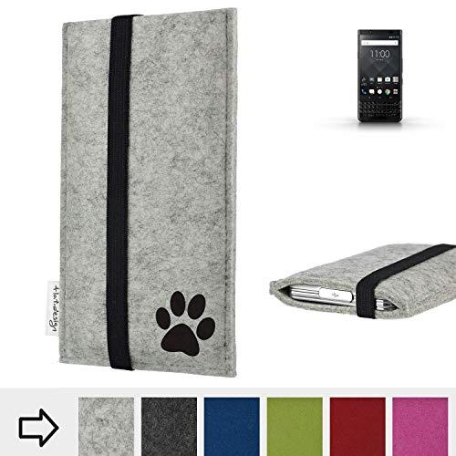 flat.design Handy Hülle Coimbra für BlackBerry KEYone Black Edition individualsierbare Handytasche Filz Tasche fair Hund Pfote tatze