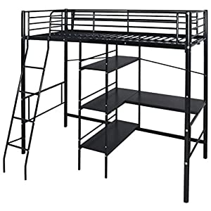 SENLUOWX High Sleeper Bed with Desk Metal 200x90 cm Black Material: Metal frame + wooden desktop and shelves