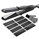 Hair Crimper, Profeesional Hair Waver Hair Straightener Interchangeable Flat Iron with Adjustable Temperature