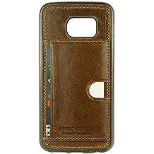 Pierre Cardin Piel Auténtica serie funda soporte ranura para tarjeta Premium suave carcasa de TPU para Samsung Galaxy S6EDGE