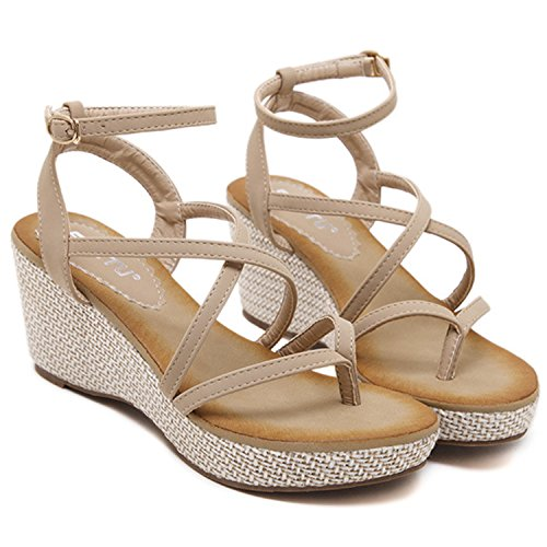Oasap Women's Ankle Strap Wedge Platform Thong Sandals Apricot