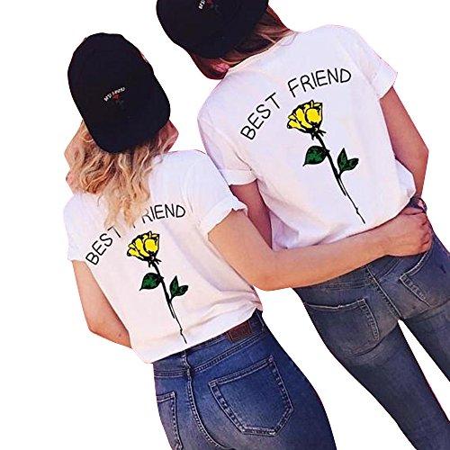 Shujin 1 Stücke Damen Mädchen Sommer Süß Partnerlook T-Shirt mit Rose Aufdrucken Best Friends Kurzarmshirt Freund Shirt Oberteile Tops (Gelben Beste Freundin T-shirt)