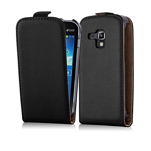 Cadorabo - Flip Style Hülle für Samsung Galaxy TREND PLUS (GT-S7580) - Case Cover Schutzhülle Etui Tasche in KAVIAR-SCHWARZ