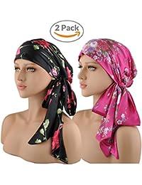 EINSKEY Turbantes para Mujer,2PCS Anti-UV Pañuelos Cabeza Oncologicos para Mujer,Floral Bandanas Turbante Pelo Mujer para Càncer Quimio Chemo Pèrdida de Pelo,Sensación de Seda