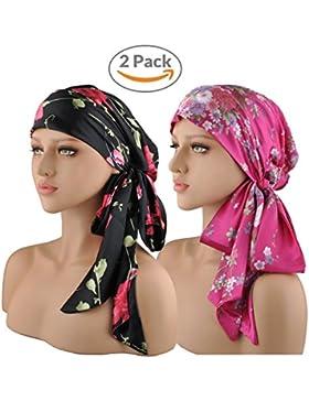 EINSKEY Turbantes para Mujer,2PCS Anti-UV Pañuelos Cabeza Oncologicos para Mujer,Floral Bandanas Turbante Pelo...
