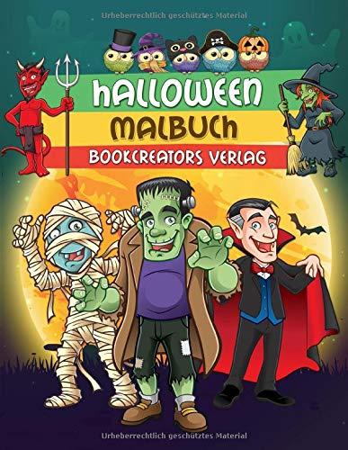 Halloween Malbuch: Gruselige Designs für Kinder (Hexen, Kürbisse, Monster, Dracula und mehr)