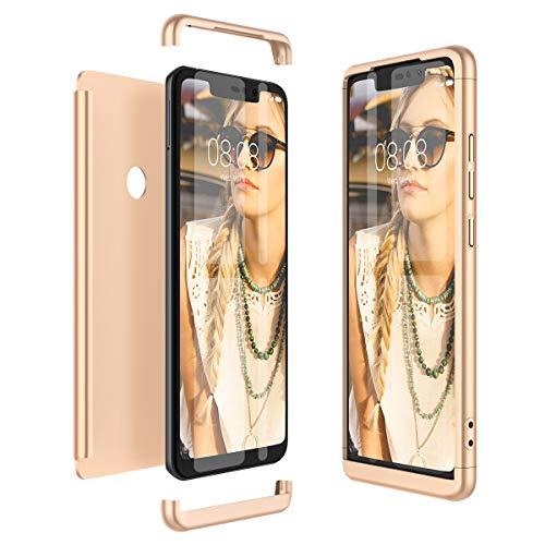 Winhoo Kompatibel mit Xiaomi Redmi Note 6 Pro Hülle Hardcase 3 in 1 Handyhülle 360 Grad Schutz Ultra Dünn Slim Hard Full Body Case Cover Backcover Schutzhülle Bumper - Gold