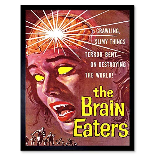 Wee Blue Coo LTD Movie Film Brain Eaters Sci Fi Horror Alien Nelson USA Art Print Framed Poster Wall Decor Kunstdruck Poster Wand-Dekor-12X16 Zoll