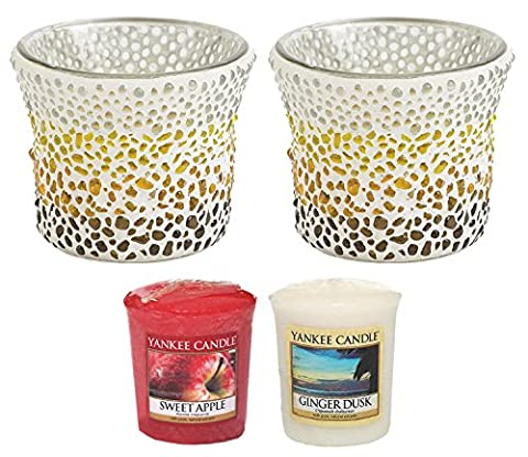 Yankee Candle Sunset Mosaic Glass Votive Holders TWO PACK Plus TWO SAMPLERS Small 8cm/3.2