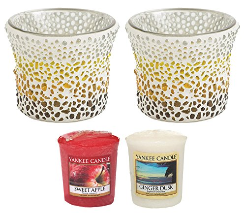 """Yankee Candle Sunset Mosaic Glass Votive Holders TWO PACK Plus TWO SAMPLERS Small 8cm/3.2"""" Modern & Contemporary Candle Containers with 1000 Incredible Decorative Coloured Glass Beads Indoor/Outdoor"""