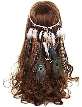 FANHOM Pavo real Pluma Venda indio Hippie Banda para el cabello Tocado Tribal Accesorios para el cabello