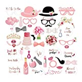 AIYANG 44 Comte Mariage Fête Photoboooth Accessoires Mariage DIY Accessoire Kit Masquerade pour Décoration Mariage Wedding Bridal Shower Photobooth Props