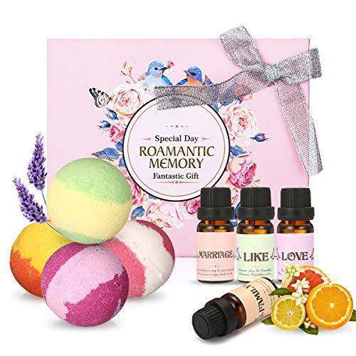Oli essenziali naturali e bombe da bagno, Luckyfine 4 palle effervescenti da 4 pezzi e 4 oli profumati per aromaterapia, confezione regalo perfetta per il giorno di Natale