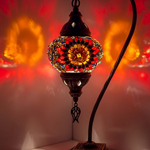Mosaic Lamp - Turkish Mosaic Table & Desk Lamp,Stunning Moroccan Style, Unique Globe Lampshade, Swan Neck Series (Red 1)