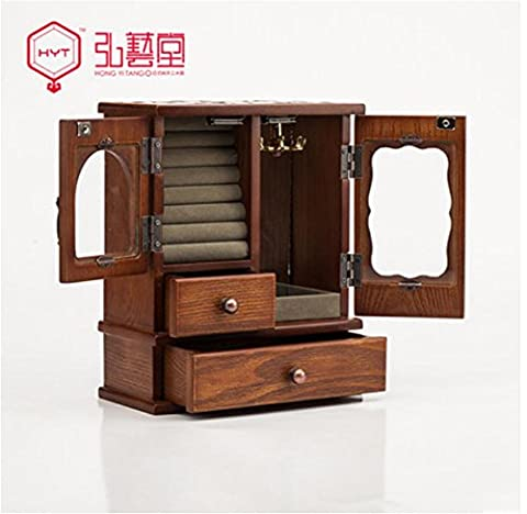 XYLUCKY Bijoux européens en bois boîte Corée princesse Retro Jewelry Box collier Bijoux Collection boîte Organizer(brown) , brown , a