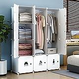 Koossy erweiterbares Regalsystem stabiles Kleiderschrank mit Kategorie Aufkleber für Kleidung, Schuhen, Taschen und Spielzeug 660L,111 x 47 x 147 cm, Weiß