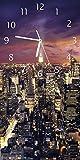 Wallario Design Wanduhr New York bei Nacht - Panoramablick über die Stadt aus Acrylglas, Größe 30 x 60 cm