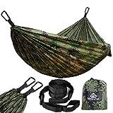 Natur eFun 300kg Kapazität, atmungsaktiv, schnelltrocknend Leichte Camping Hängematte Parachute Nylon/für 2x Premium Karabiner Haken 2x Nylon Schlaufen frei oder EIN Garten Army Green/Light Green
