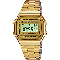 Casio Retro Gold Tone Unisex Watch luminance Alarm Chrono Digital A168WG-9WDF