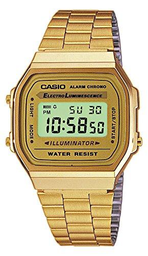 Casio Retro Gold-Ton Unisex Uhr Alarm Chrono Leuchtdichte Digitale - Uhren Frauen Casio Gold