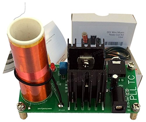 AUMED Bobina de Tesla Mini Music Tesla Coil Plasma Speaker Kit de transmisión inalámbrica DIY 15W