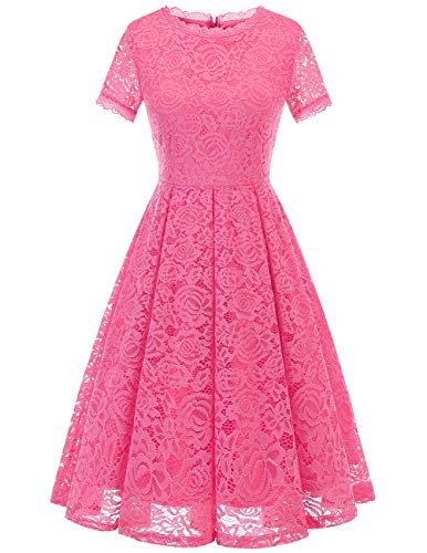 Dresstells Damen Elegant Kleid Spitzenkleid Kurzarm Cocktailkleider Party Ballkleid Rose S - Sexy Damen Party Abend Hochzeit