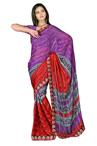Sehgall Sarees Indian Professional Ethnic Alpheno Print with Lace Border color purple