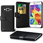 DN-TECHNOLOGY  Samsung Galaxy J3 Case High Quality Leather Book Case with Screen Protector - BLACK