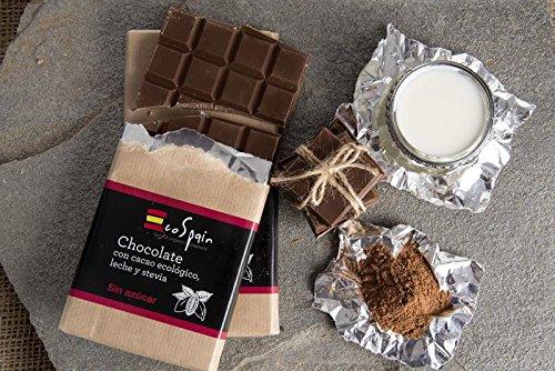 Chocolate con leche, stevia y cacao ecológico. Sin azúcar. Apto para diabéticos. Sin gluten. 100 gr. Sin conservantes ni colorantes. Producto Gourmet