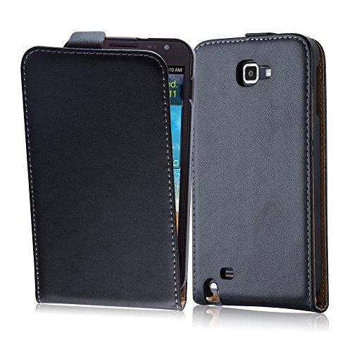 Cadorabo Coque pour Samsung Galaxy Note 1, Noir DE Jais Design Flip Fermoire Magnétique Housse de Protection Etui Case Cover pour Samsung Galaxy Note 1 – Ouverture Verticale