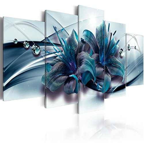 B&D XXL murando Impression sur Toile intissee 100x50 cm 5 Parties Tableau Tableaux Decoration Murale Photo Image Artistique Photographie Graphique Fleurs Lys b-C-0155-b-p