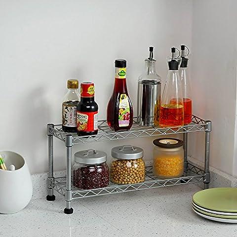 WF Due piani mensola della cucina telaio fornello doppio stoccaggio condimento cremagliera bagno wc tavolino vano regolabile Scaffalature