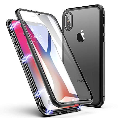 iPhone X/XS Hülle, ZHIKE Einteiliges Design magnetischer Adsorptionskasten Vollbildabdeckung Gehärtetes Glas Zurück mit eingebautem Magnetklappdeckel für iPhone X/XS (Transparent Schwarz) (Handy-back-up-kamera)