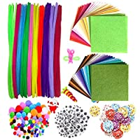 DOITEM Pipe Cleaners Crafts Set Pipe Cleaners Chenille Stem and Pompoms with Googly Wiggle Eyes for Craft DIY Art Supplies