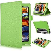 Lenovo YOGA Tab 3 8.0-Inch Funda Cover - IVSO Slim-Book Case Funda Protectora de Cuero PU para Lenovo YOGA Tab 3 8.0-Inch Tablet (Verde)