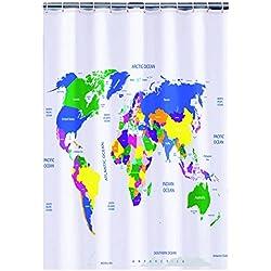 Cortina de ducha con el mapa del mundo.