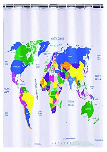 Mapa del mundo cortina de ducha de plástico (180x 180cm)