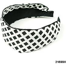 ancha Diadema en color blanco con cuadros negros estampado