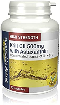 Simply Supplements Krill Oil 500mg with Astaxanthin | 90 Capsules | May support healthy heart function by Simply Supplements