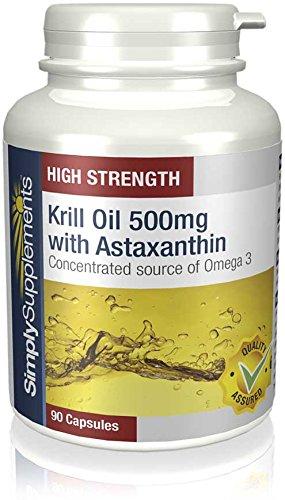 Olio di Krill 500mg con Astaxantina | 90 Capsule | Contribuisce alla normale funzione cardiaca Simply Supplements