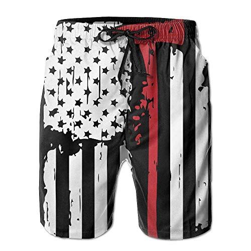 Mens Swim Trunks Loose Firefighter Red Line American Flag 100% Polyester Athletic Shorts/L