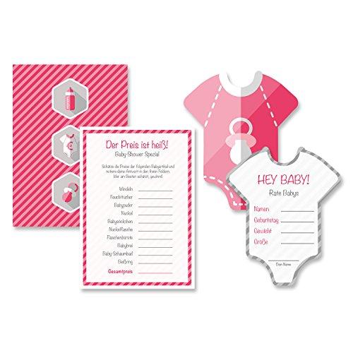 Babyparty Baby Shower Komplettset 16 Stück Spiel-Set S mädchen rosa pink Partyspiel Quiz Spiel Einladungskarten Deko Party Andenken Einladung Karte Geschenk Partyset Artikel