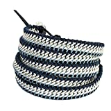 NAKAMOL Wickelarmband Silber/Blau N20308